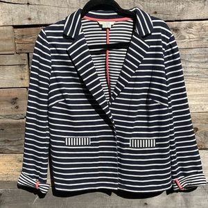 🌻Boden Navy White Comfortable Striped Blazer Jacket Notched Sleeves US Size 12
